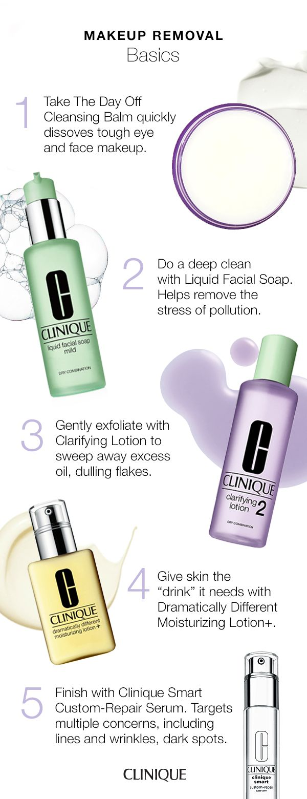 "Everything you need to know about makeup removal: 1. Take The Day Off Cleansing Balm quickly dissolves tough eye and face makeup. 2. Deep clean with Liquid Facial Soap. 3. Gently exfoliate with Clarifying Lotion to sweep away excess oil, dulling flakes. 4. Give skin the ""drink"" it needs with Dramatically Different Moisturizing Lotion+. 5. Finish with Clinique Smart Custom-Repair Serum. Targets multiple concerns, including lines and wrinkles, dark spots."