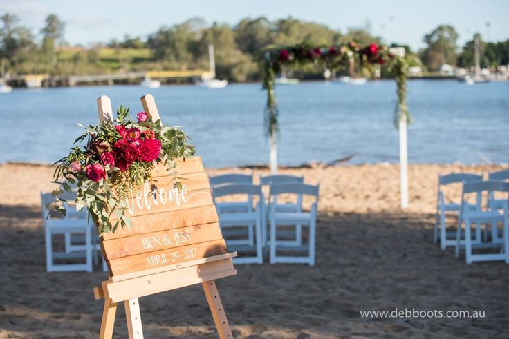 Feel the sea breeze in your hair.  Beach wedding at Northshore Harbour Cafe
