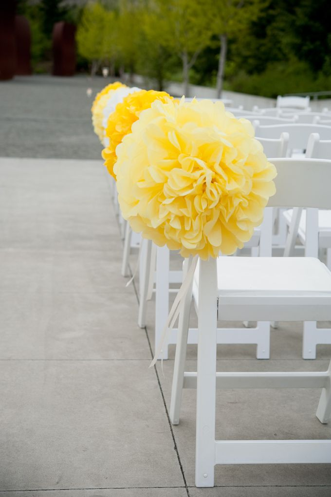 Yellow Poms Ceremony Aisle Decor. Wedding Planning and Design by Simply Wed.  www.simplywed.com