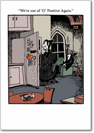 Funny Halloween Cartoons | Positive Dracula Cartoon Halloween Card Don Stone