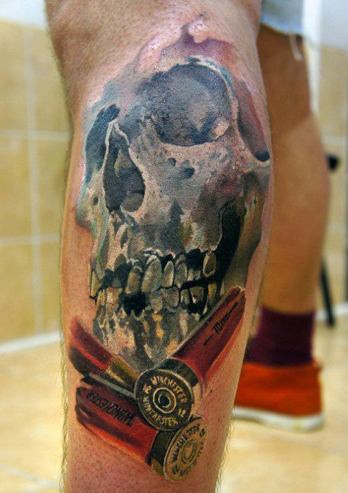 Skull With Shotgun Shells Bullet Tattoo Design On Mens Leg Calf