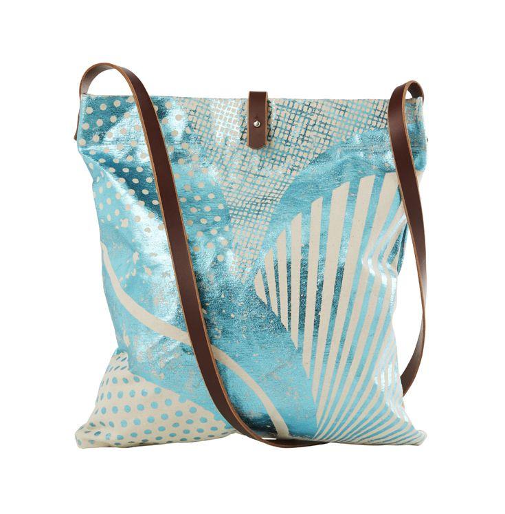 Tinker by Printink Studio – Geo Floral teal foil shoulder bag with leather strap. printinkstudio.com