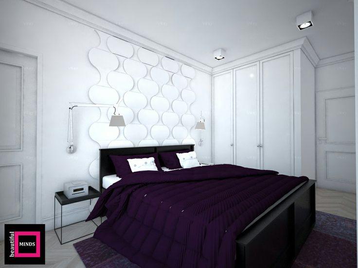 Sypialnia z wykorzystaniem miękkich paneli ściennych 3D Fluffo, Fabryka Miękkich Ścian (kolekcja FLOW lub DIVE). Projekt by: www.beautifulminds.pl