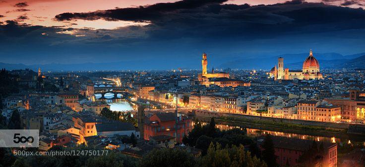Firenze by Night - Pinned by Mak Khalaf Florens Italy City and Architecture FirenzeItalyToscanaTuscanybeautifulitalyloveromanticsunsettravel by AdnanBubalo