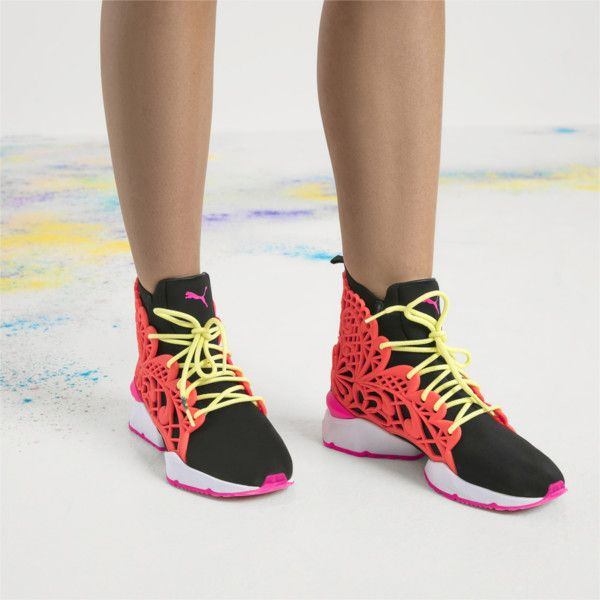 ff3500619f6 Image 1 of PUMA x SOPHIA WEBSTER Muse Echo Candy Princess Women s Trainers  in Puma Black-Fiery Coral