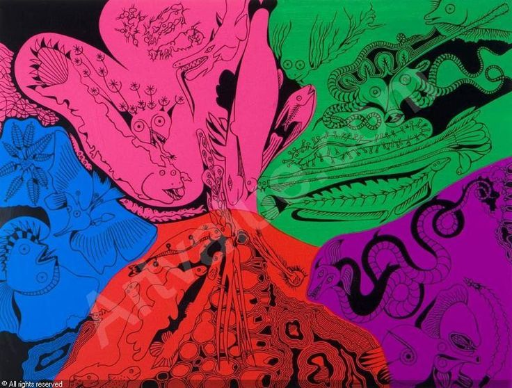 Alfred Pellan, Bestiaire 4, 1974, Colour serigraph on board