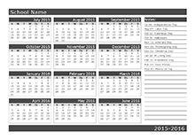 Yearly School Calendar 2016/2017 - printable