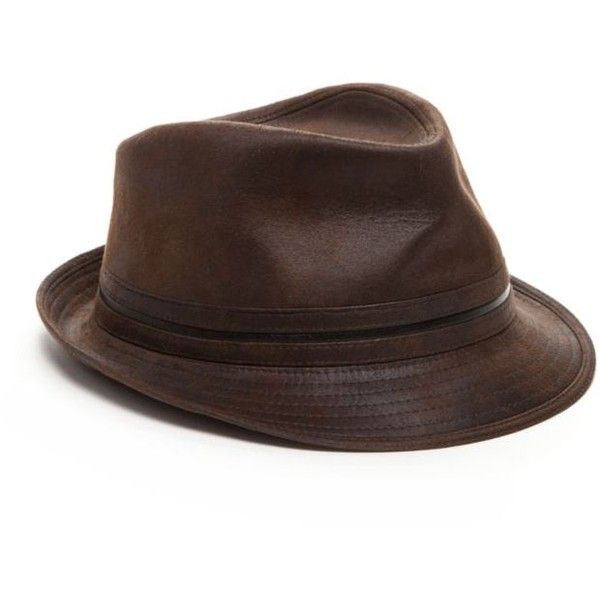 Henschel™  Faux Leather Fedora ($41) ❤ liked on Polyvore featuring men's fashion, men's accessories, men's hats, brown, mens brown fedora hat and mens fedora hats