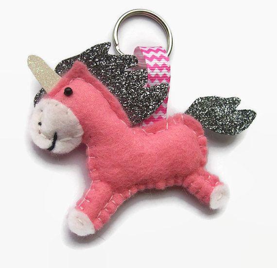 Felt Unicorn Keyring Pink Unicorn Gift Cute by Sazparillas on Etsy