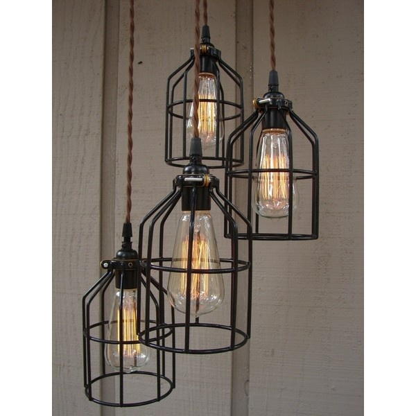 industrial look lighting fixtures. upcycled 4 light industrial pendant with edison style bulbs and bulb cages benclifdesigns look lighting fixtures