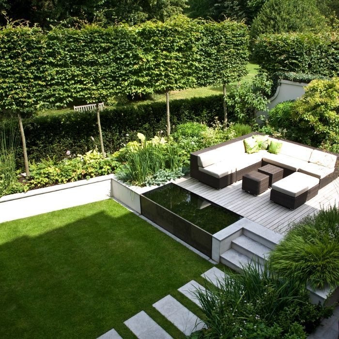 Landform consultants st margarets contemporary garden for Modern garden pond designs