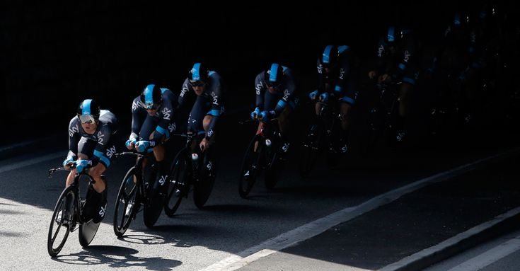 The Sky Procycling team passes under a bridge during the fourth stage of the Tour de France cycling race, a team time-trial over 25 kilometers (15.6 miles) with start and finish in Nice, southern France, on July 2. (Laurent Cipriani/Associated Press) - See more at: http://www.boston.com/bigpicture/2013/07/tour_de_france_100th_edition_p.html#sthash.NBeqwlIC.dpuf