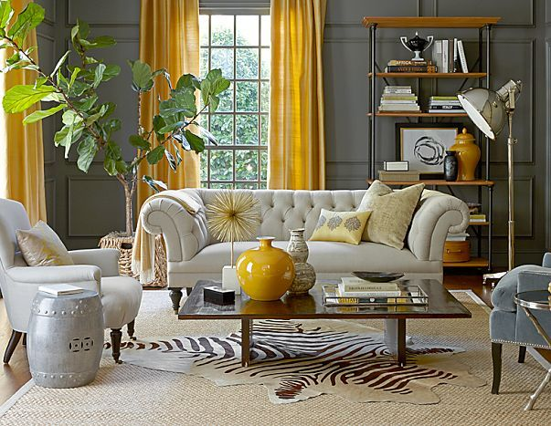 Incorporate Subtle Pops of Color into a Neutral Home {Color Palette Monday  cortinas coloridas