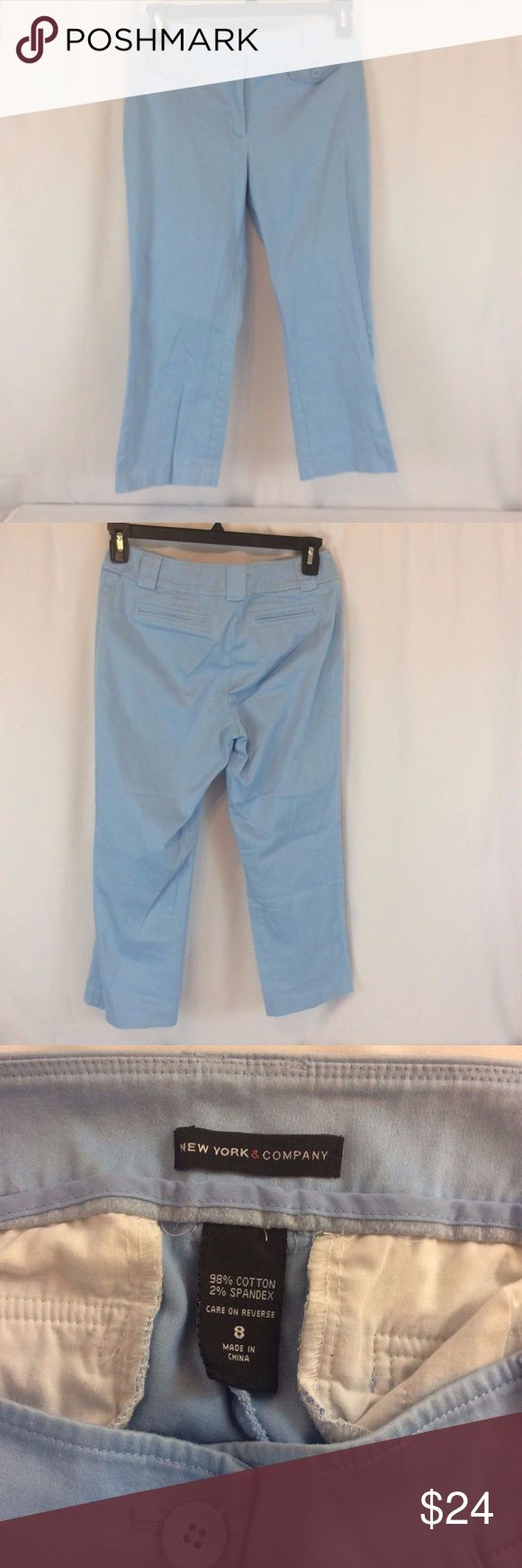 NEW YORK & COMPANY Blue Blend Womens Capri Pants NEW YORK & COMPANY Blue Cotton Blend Womens Capri Pants Size 8 Flat Front Gently used, see photos for details  Bottoms Size (Women's):8 Style:Capris, Cropped Size Type:Regular New York & Company Pants