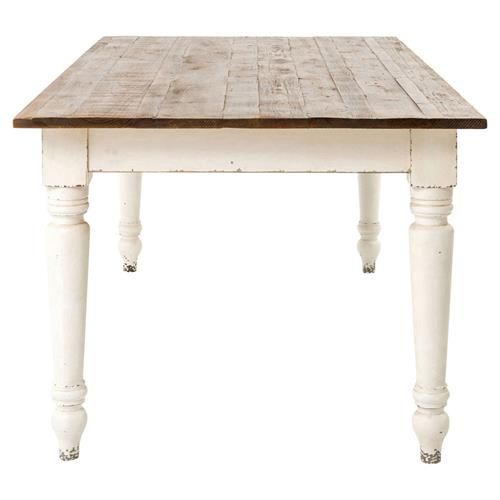 French Country Reclaimed Pine Whitewash Farmhouse Dining Table                                                                                                                                                                                 More