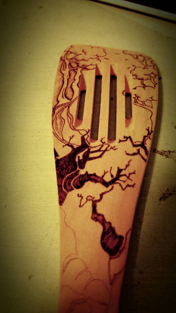 Wooden spatula with beautiful pyrography train by LondonBurning