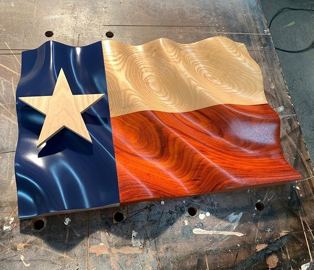 Another Progress Shot Of The Upcoming Wavy Texas Flag Texas Wooden Flag Flag Art Wood Flag