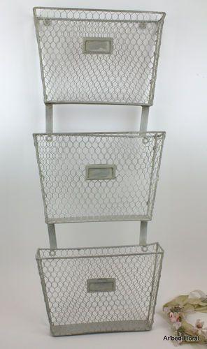 3 Tier Primitive Iron Metal Wall Mounted Basket File