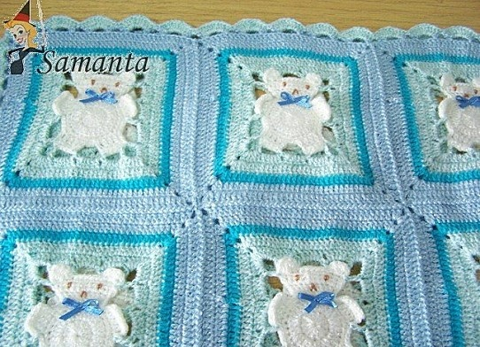 Blue Baby Blanket with Bear Cubs free crochet graph pattern