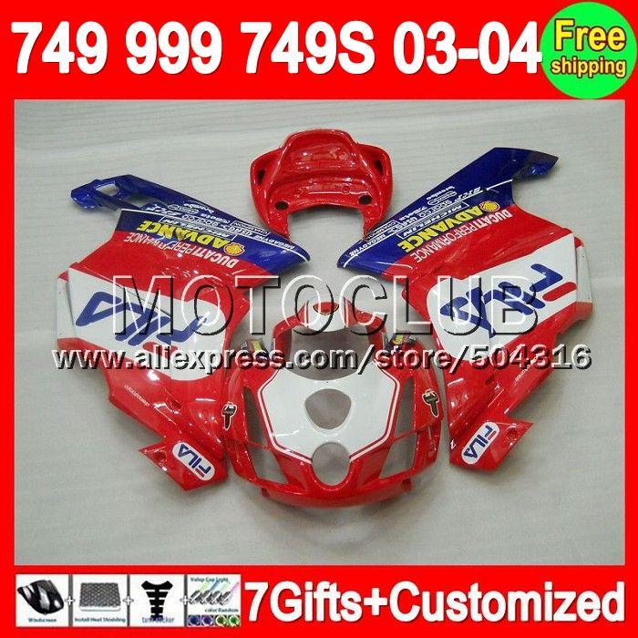 Красный белый синий 7 подарки + для DUCATI 749 - 999 03 - 04 749 S 999 S 749R 749 999 6C40 999R 749 2004 2003 - 2004 новый красный 03 04 2003 зализа