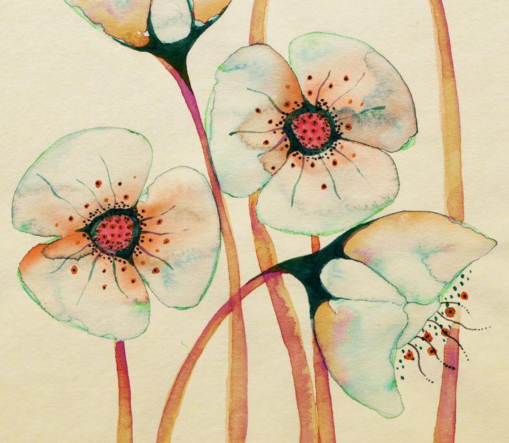 More Coleen Parker.  So fantastic.: Colleen Parker, Delicate Floral, Coleen Parker, Botanical Illustrations, Photo Shared, Artsy Fartsi, Flowers, Painting, Ink