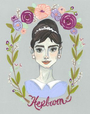 Audrey Hepburn portrait with some hand lettering and lovely florals.