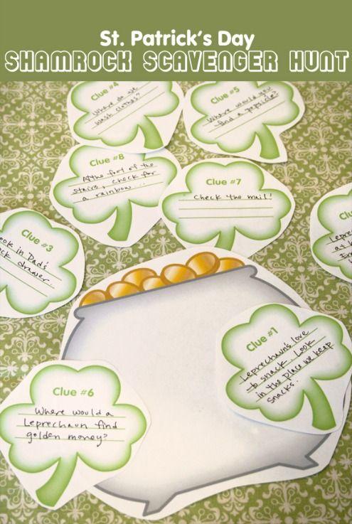 Fun St. Patricks Day tradition Shamrock Treasure Hunt Printable from @TodaysMama