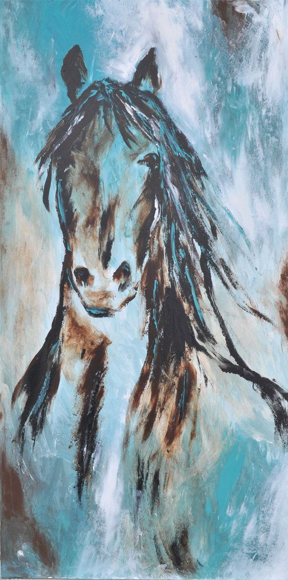 Abstract Contemporary Western Horse Art in by heartifactsgallery, $250.00