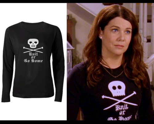 "Gilmore Girls style website- yes please - I need this ""knit or go home"" shirt :D"