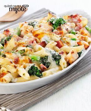 Casserole de pâtes au jambon, au brocoli et au fromage #recette