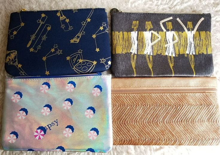 Lot of 4 Ipsy Makeup Bags Zipper Pouch Stars Silver Gold Bronze Metallic Colors  #Ipsy