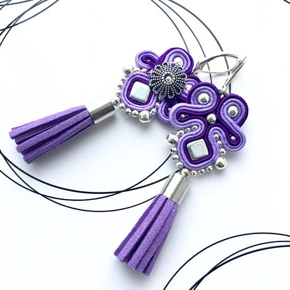 Purple Earrings Lilac Earrings Soutache Earrings Tassel