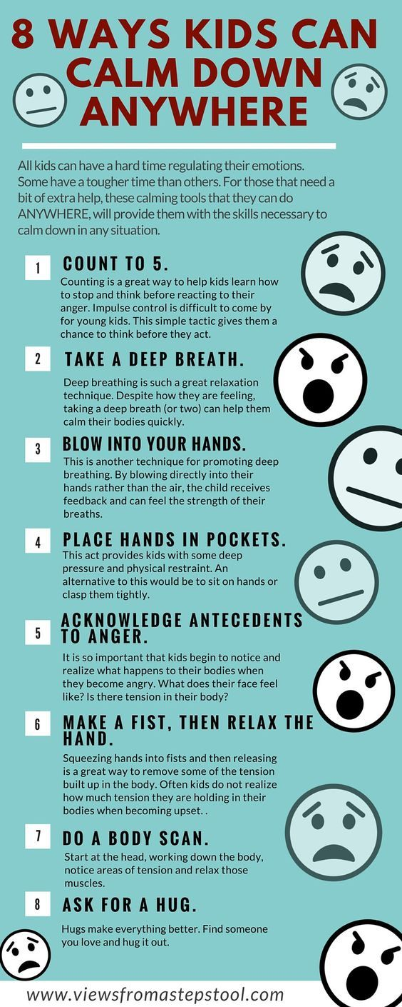 Tips for Calming Down. Why it's ok to be upset, and 8 ways kids can calm themselves anywhere.