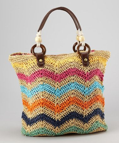 Zigzag Crocheted Straw Tote