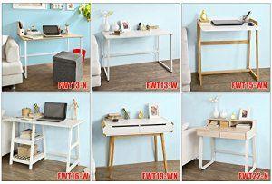 SoBuy® FWT15-WN Bureau informatique, Table pour ordinateur conception simple plan de travail réglable en 2 hauteurs