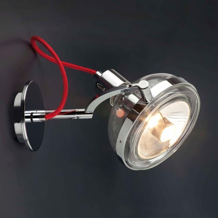 Applique 1 lumière en verre soufflé et métal chromé avec fil rouge longueur 19 cm Glop par DRESSLIGHT
