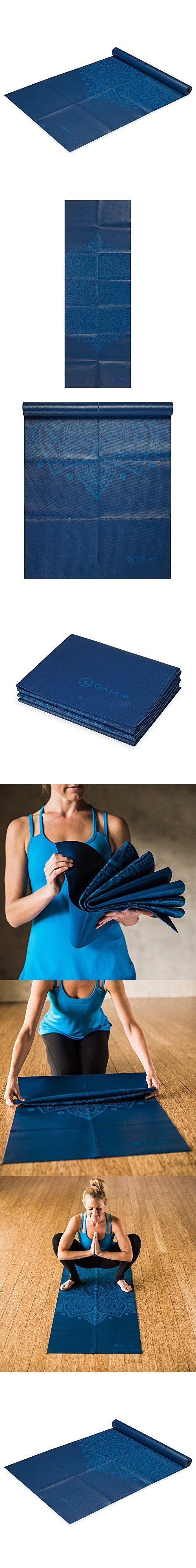 Gaiam Foldable Yoga Mat, Blue Sundial, 2mm