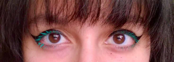 Turquoise mascara. :) this is me, sorry for the bad photo