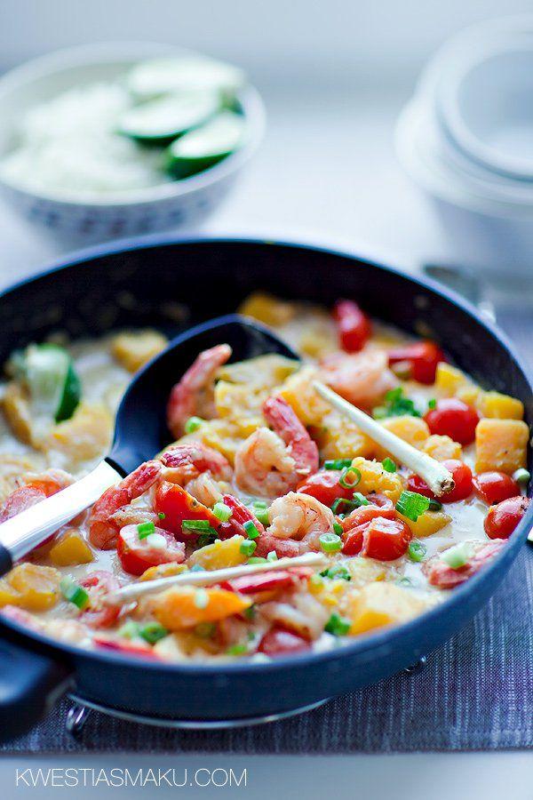 Curry dyniowe z krewetkami i pomidorkami | Kwestia Smaku