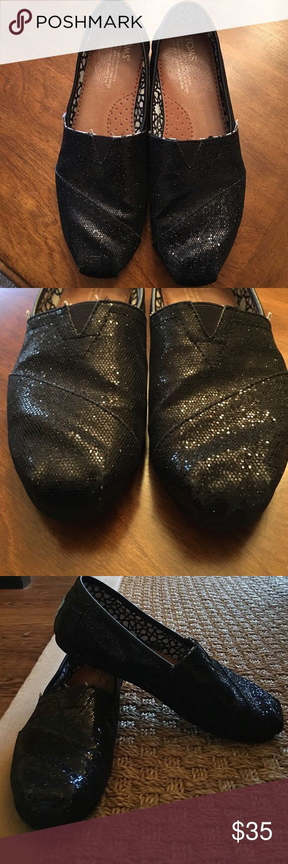 TOMS Black glitter TOMS! Like new.. Only worn a couple of times! Sz 7.5 TOMS Shoes Flats & Loafers