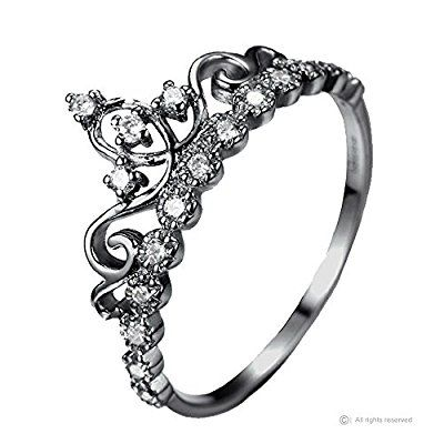 Dainty Black Rhodium-plated Sterling Silver Princess Crown Ring