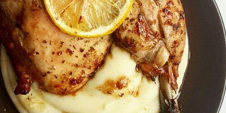 Κοτόπουλο λεμονάτο με μουστάρδα και ρίγανη