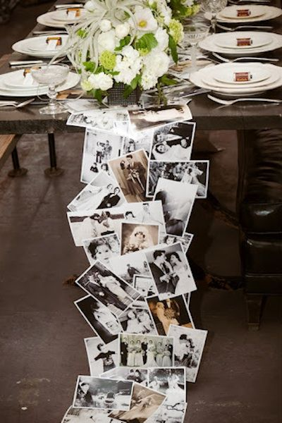 phototastic table runner with family wedding photos... would be fun with photos through the years for bday or retirement party or vintage fashion for a girls' night out, etc. love the cascade onto the floor