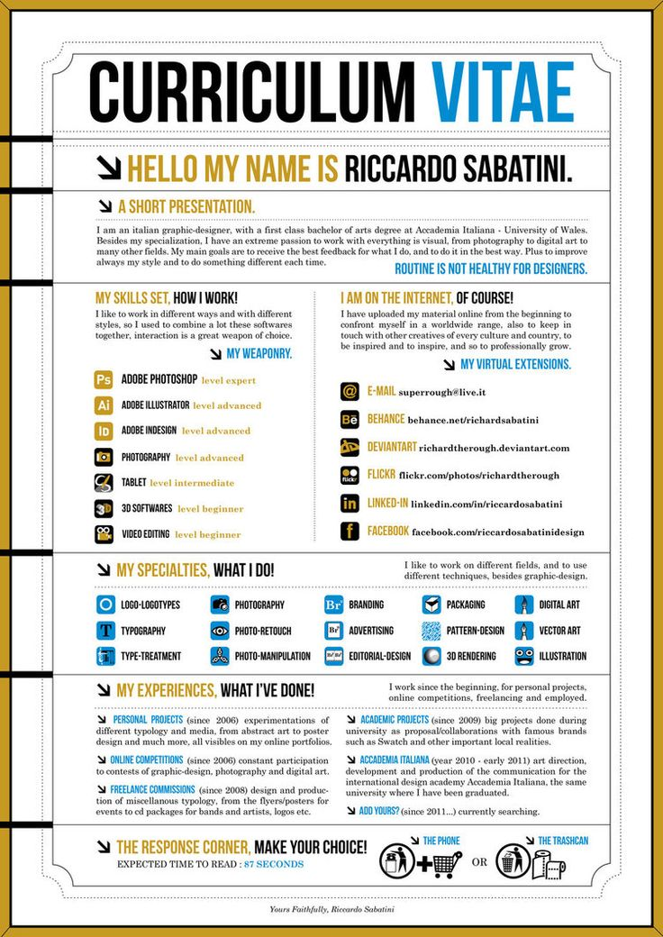 43 best Design - Creative resumes images on Pinterest Creative - graphic design skills resume