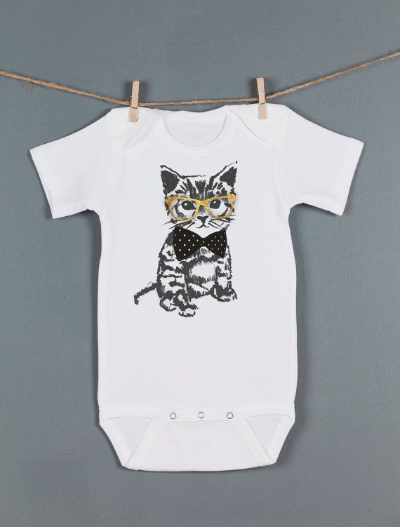 Hipster baby gift ideas : Cat baby one piece hipster kitten bodysuit clothing