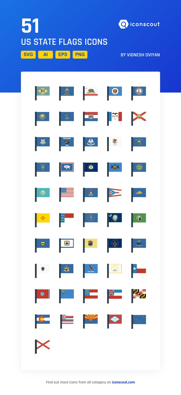 US State Flags  Icon Pack - 51 Flat Icons