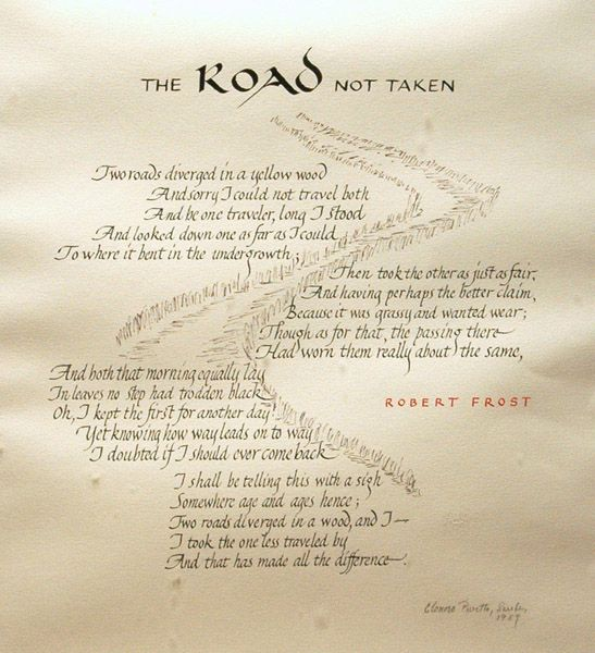 an examination of the message of robert frost in the poem the road not taken Please read the road not taken by robert frost at least twice, and then write an analysis of this famous poem for your analysis, consider any and all poetic techniques your find, as well as the deeper meaning or message of the poem.