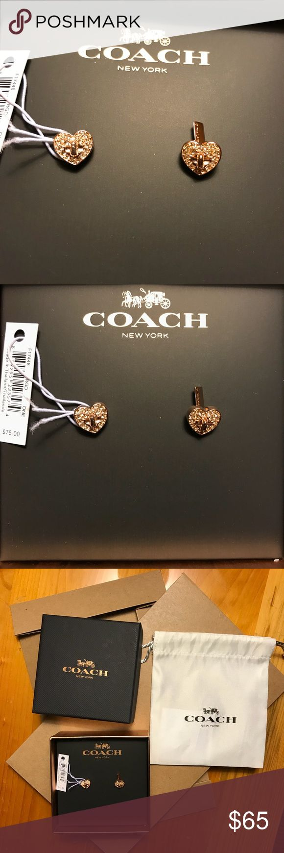 NWT Coach Earrings ❤️ Rose Gold BLACK FRIDAY SPECIAL! 25% OFF of retail! Brand New rose gold Coach earrings with tags, gift box and storing bag! These adorable earrings are studs with a heart shape filled with crystals. Stunning in Rose Gold and a total must have! Coach Jewelry Earrings