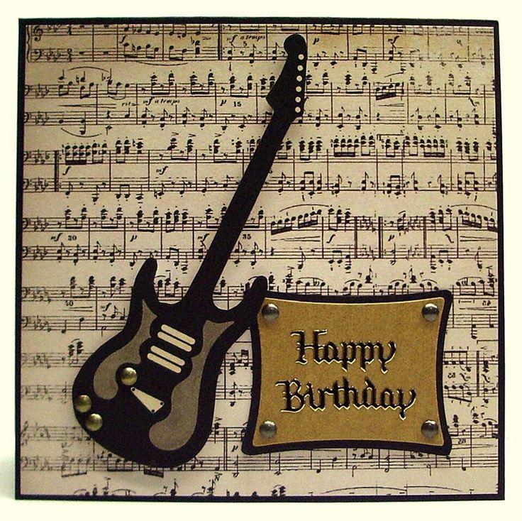 Открытка с гитарой на день рождения мужчины