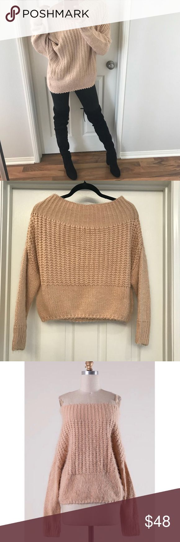 """Tan/Beige OTS Sweater 🔃Reposh, brand new with tags. I paid $48 + shipping  Using my photo as the cover because I sold the exact same sweater just a different label, sizing is marked """"S/M"""" on this sweater for sale and the fabric content is 55% cotton 25% Poly 20% nylon- which is very very soft and non shedding.   20"""" long from the top to the bottom as if it's on the body 22"""" pit to pit  Stock photo doesn't reflect color for some odd reason, my photos do. Sweaters"""